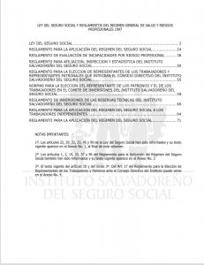 Ley del seguro social y reglamentos del regimen general de salud y riesgos profesionales 1997