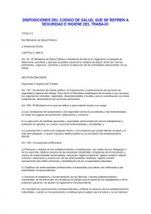 Disposiciones del código de salud, que se refieren a seguridad e higiene del trabajo.