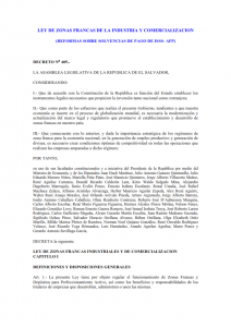 Ley de zonas francas de la industria y comercialización (reformas sobre solvencias de pago de isss- afp)