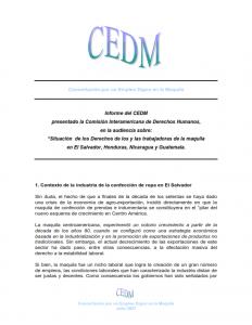 CEDM presentó informe derechos de trabajadoras maquila en el salvador