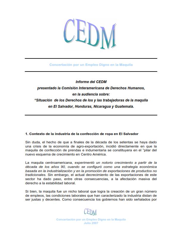 Lee más sobre el artículo CEDM presentó informe derechos de trabajadoras maquila en el salvador