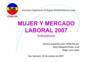 Resumen, mujer y mercado laboral 2007, indicadores