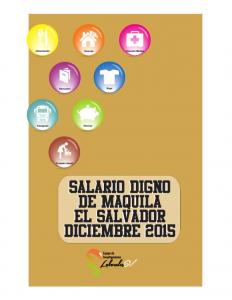 Salario Digno de Maquila El Salvador Diciembre 2015