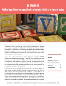 El Salvador – Análisis legal: Nueva ley especial sobre el cuidado infantil en el lugar de trabajo